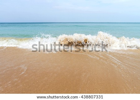 Ocean waves and beach with sand  on Koh Lanta, Krabi,Thailand - stock photo