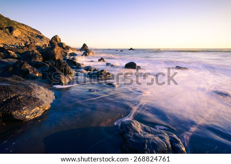 Ocean waves and rocks at Muir Beach, California