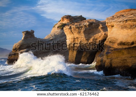 Ocean waves landscape - anticipation as large waves rush towards the Oregon Coast. - stock photo