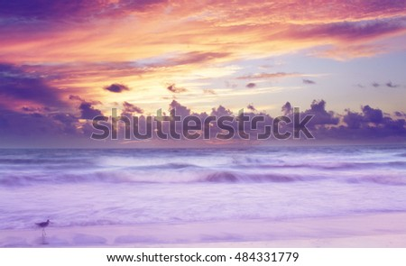ocean waves with sunrise