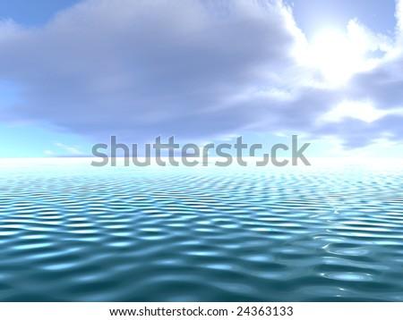 Ocean with sky - stock photo