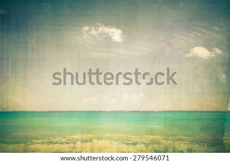 Ocean with vintage texture effect - stock photo