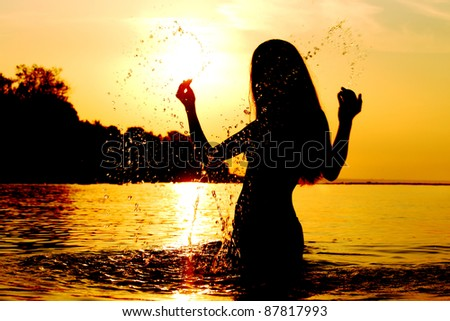 ocean woman - stock photo