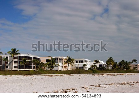 Oceanfront Beach Condominium Afternoon Sanibel Island Florida - stock photo