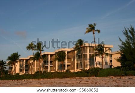 Oceanfront Beach Condominium Morning Sanibel Island Florida - stock photo