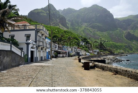 Oceanfront cobblestone road in the harbor town of Fajan D'Agua on the island of Brava