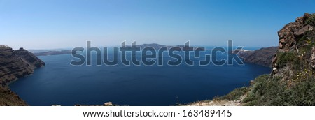 Oceanfront on Santorini island in the Cyclades (Greece)