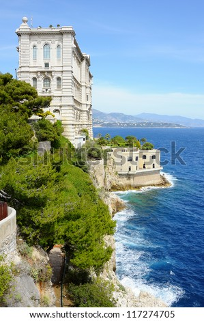 Oceanographic Museum of Monaco, founded in 1911 by Prince Albert I. - stock photo