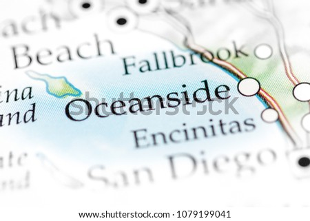 Oceanside California USA On Map Stock Photo (Royalty Free ...