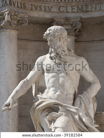 Oceanus statue in the Trevi Fountain, Rome, Italy - stock photo