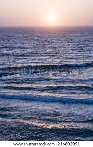 Oceanview from Plaskett Creek in Big Sur, CA at sunset - stock photo