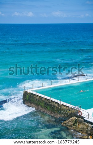 ocen baths at the bondi icebergs and bondi beach in Sydney, Australia  - stock photo