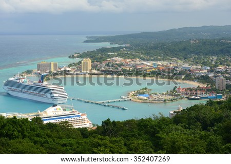 OCHO RIOS, JAMAICA - DEC 29: Ocho Rios and Carnival Cruise Victory aerial view from the top of Mystic Mountain on Dec. 29, 2014 in Ocho Rios, Jamaica. - stock photo