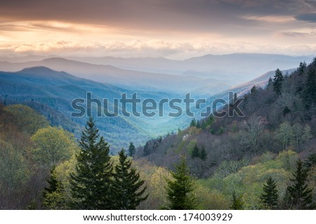 Oconaluftee Valley Scenic Sunrise Overlook Great Smoky Mountains National Park - stock photo