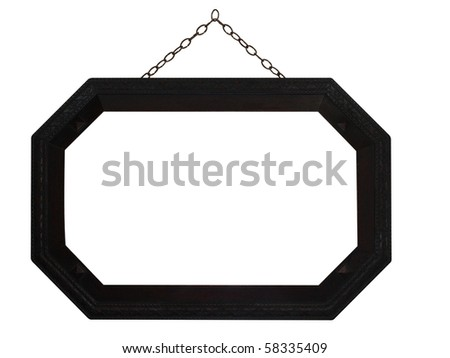 Octagonal Frame with Chain, isolated with clipping path - stock photo
