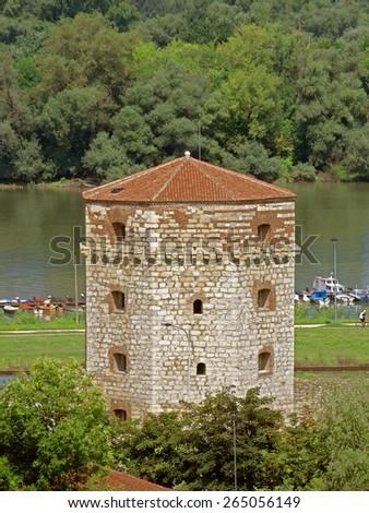 octagonal Nebojsa Tower Kalemegdan Fortress, Belgrade - stock photo