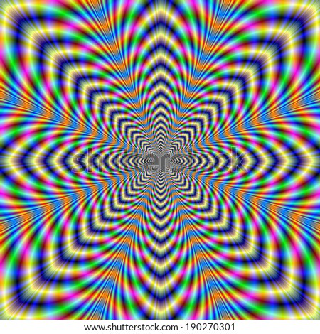 Octagonal Pulse / A digital abstract fractal image with and optically challenging octagonal in blue, yellow, green and orange. - stock photo