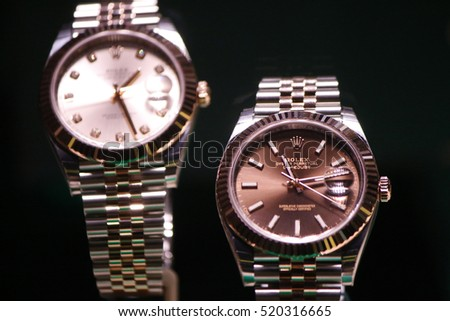 "OCTOBER 2016 - BERLIN: ""Rolex"" Oyster luxury watches on display."