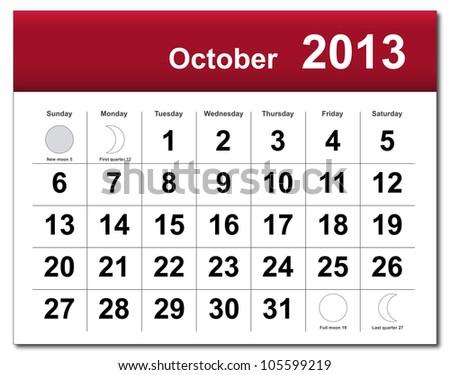 October 2013 calendar - stock photo