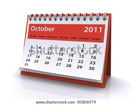 october 2011 calendar - stock photo