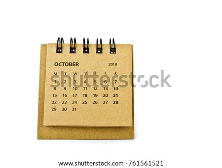 October. Calendar sheet. Two thousand eighteen year calendar on white background.