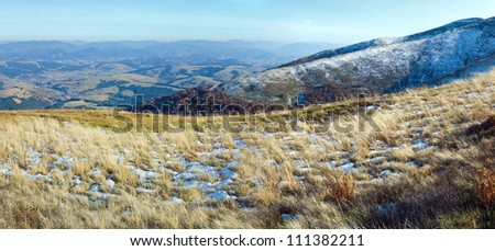 October Carpathian mountain Borghava plateau with first winter snow. Two shots composite picture. - stock photo