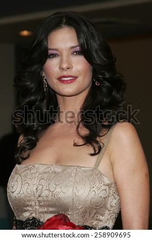"October 16, 2005. Catherine Zeta-Jones at the Columbia Pictures' ""The Legend of Zorro"" Los Angeles Premiere at the Orpheum Theatre in Los Angeles downtown, California United States."