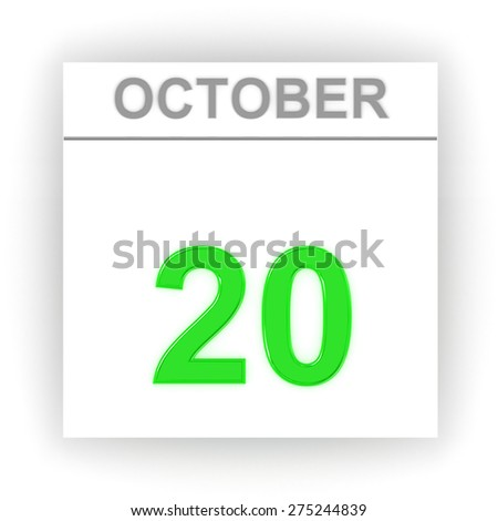 October 20. Day on the calendar. 3d - stock photo