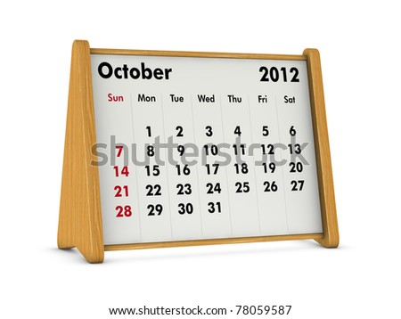 october 2012 elegant wooden calendar on white background (3d render)