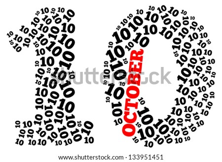 October info-text graphics arrangement concept composed in number 10 shape on white background - stock photo