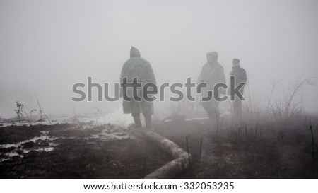 October 20, 2015. Kiev region, Ukraine. Firefighters extinguish smoldering peat around Kiev. In autumn peatland fires covered 11 districts of the Kiev region.