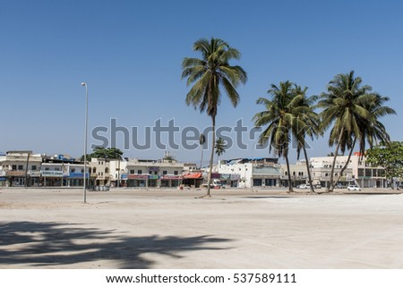 October 21, 2015, Oman, Salalah, Houses and shops near old souq of Sultanate Middle East