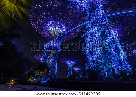October 24, 2014: Shw of color and lght in the Super Tree Grove in Singapore