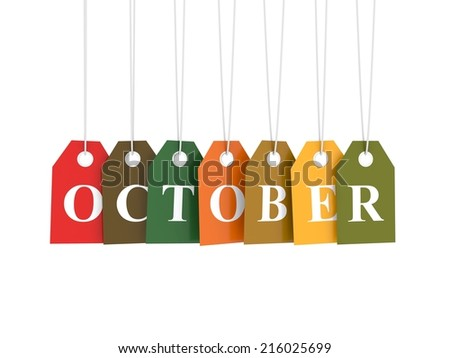 October tag on colored hanging labels. Fall colors - stock photo