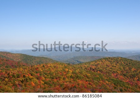 October View From Sugarland Overlook in Grayson Highlands State Park VA With Copy Space - stock photo