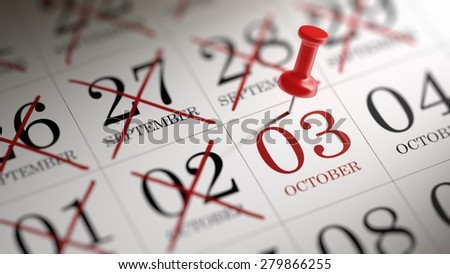 October 03 written on a calendar to remind you an important appointment. - stock photo
