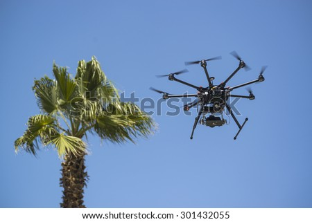 Octocopter Flying - stock photo