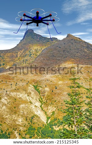 Octocopter over Mt. St. Helens foothills - stock photo