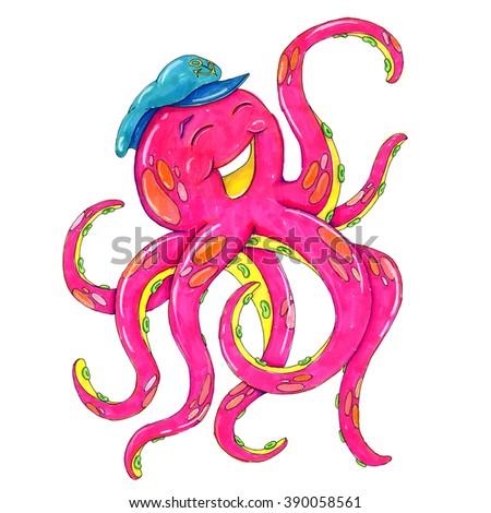 Octopus cartoon; Octopus illustration - stock photo