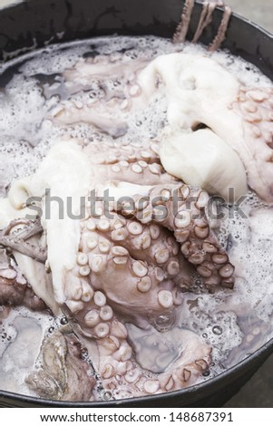 Octopus cooked in feeding market restaurant, food - stock photo
