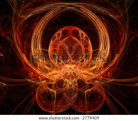 Octopus - fractal generated on a black background - stock photo