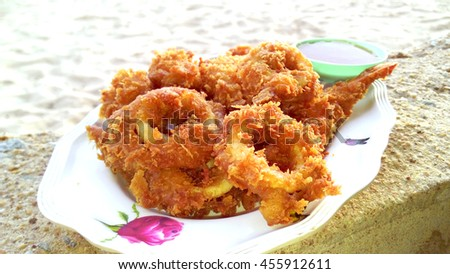 Octopus fritters sweet sauce background sea stock photo edit now octopus fritters and sweet sauce background sea beach blur thai cuisine altavistaventures Image collections