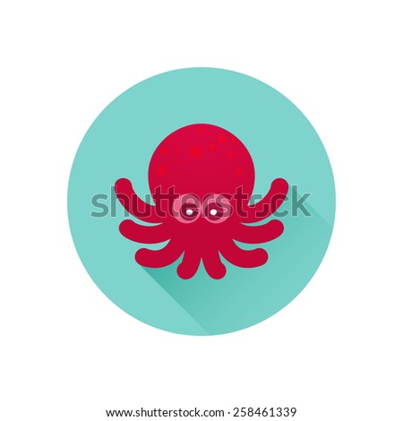 Octopus icon. Red octopus on bluish-green background. Trendy flat design style with long shadow. Element for web design and infographics . For web and print design - stock photo