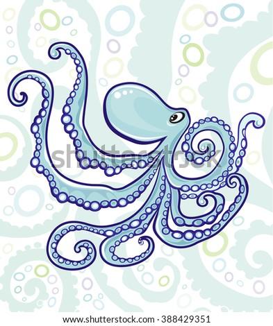 Octopus under the sea illustration - stock photo