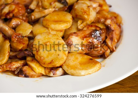 Octopus with paprika on a white plate, also known as Galician octopus, typical plate of Spain