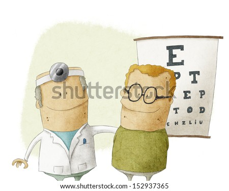 Oculist doctor with patient - stock photo