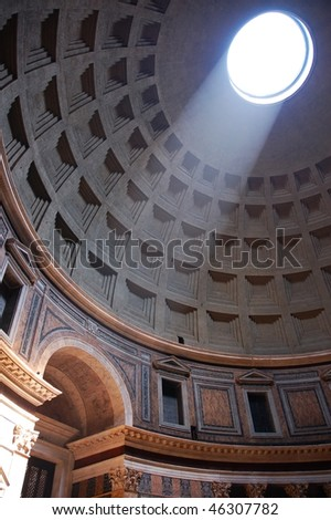 Oculo of Pantheon temple in Rome