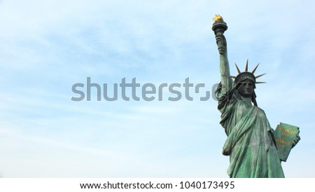 ODAIBA, TOKYO, JAPAN - CIRCA MARCH 2018 : Replica of the statue of Liberty at ODAIBA area.