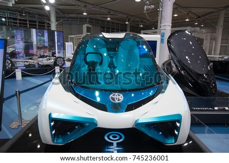 Odaiba, Tokyo, Japan - October 14, 2017 : The concapt car, Toyota FCV PLUS In Toyota city showcase.
