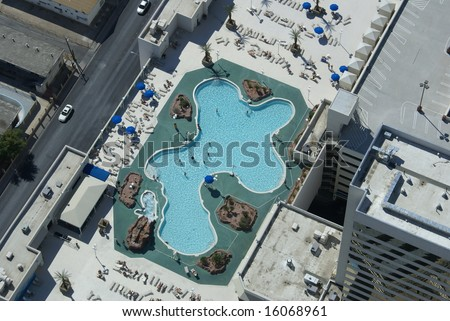 odd shaped pool  from above in Las Vegas - stock photo